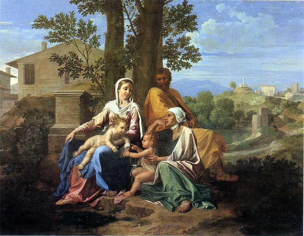 La Sainte Famille avec saint Jean et sainte Élisabeth dans un paysage - Nicolas Poussin