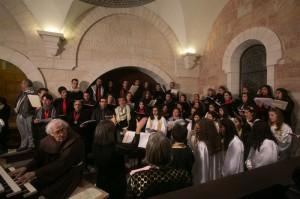 Le choeur de la Custodie pour la messe de Noël en la basilique de la Nativité