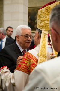 Mgr Fouad Twal et le président Mahmoud Abbas