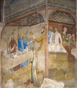 Le Festin d'Hérode à qui Salomé réclame la tête de St Jean-Baptiste. Peintures murales de Matteo GIOVANNETTI, 1346-1348 dans la Chapelle Saint Jean, Palais des Papes, Avignon
