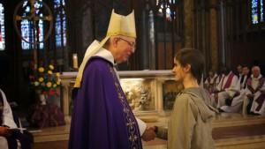 Lors de l'appel décisif, avec Mgr. Guy de Kerimel, évêque du diocèse Grenoble-Vienne