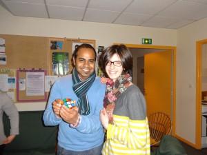 Eliette et Devarajan (indien) qui a été baptisé le 12 Avril 2015, à l'aumônerie du Figuier